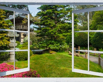 Wall mural window, self adhesive-California open window view-3 sizes available-Tea Garden-office decor - free US shipping