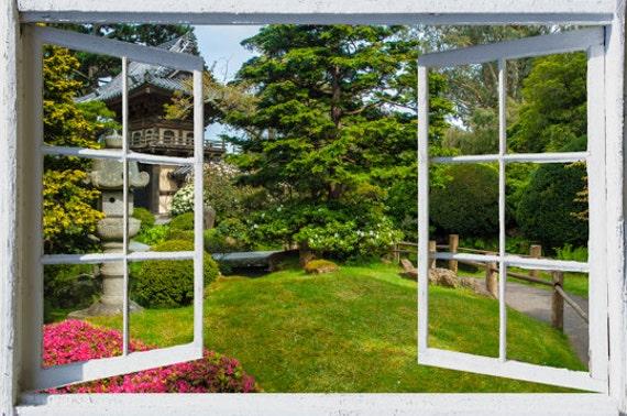 Wall mural window self adhesive california open window view 3 for English garden wall mural