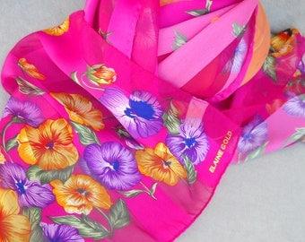 Scarf Vintage Scarf Elaine Gold Vintage Scarf Fuscia Floral Scarf Petunia Spring Wrap Oblong Scarf