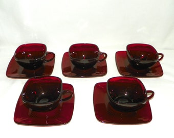 Anchor Hocking Ruby Red 5 Cups and Saucers in the Charm Pattern