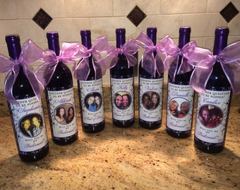 Will You Be My Bridesmaid - Wedding Bridesmaid Photo Wine Labels - Damask - Personalized Bridesmaid Gifts - 6