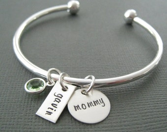 Mother's  Bangle Bracelet - Silver Mommy Jewelry - Personalized Bracelet - Silver Bracelet Bangle - - Mother's Day  Gift
