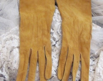 Vintage Brown Ladies Suede Leather Wrist Gloves - Small Size 6 - Unused