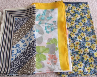 Scarves Lot of 3 Vintage Floral Ladies Poly Fashion Scarf Affordable Scarves  - All  Square (#4)