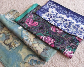 Scarves Lot of 3 Vintage Ladies Poly Acetate Fashion Scarf Affordable Scarves  -  (#23)