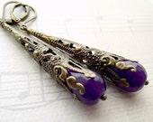 Purple dangle earrings, gemstone earrings, bronze earrings, vintage style