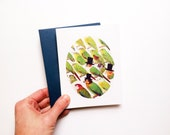 Greeting Card // Parrots in Top Hats // Folded A2 Card Printed on Cotton Paper // Paired with Navy  Envelope