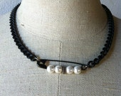 Pearl Safety Pin necklace on black chain by Ankh By Racquel (sale)
