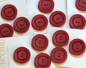 Vintage Buttons, Le Chic Large Maroon Buttons on Cards, 15 Buttons