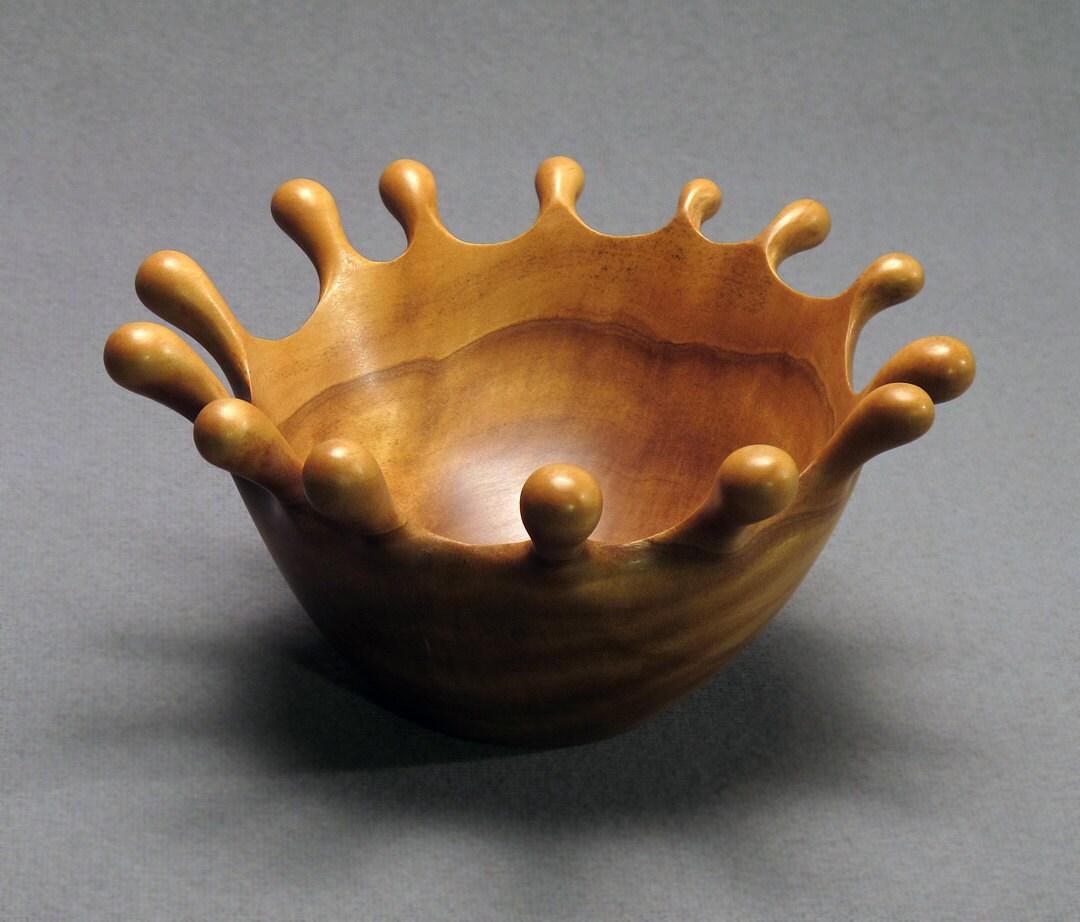 Hand carved boxwood splash bowl