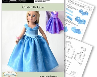 """Cinderella Ball Gown Doll Clothes Pattern as Downloadable PDF, Comes in 2 sizes: for 18"""" American Girl and slim Carpatina dolls"""