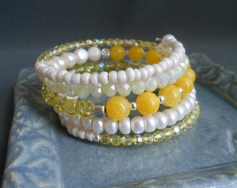 Yellow Bracelet, Yellow and White Memory Wire Wrap Bracelet.