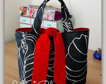 PDF Reversible Contrast Tied Tote Bag Sewing Guide