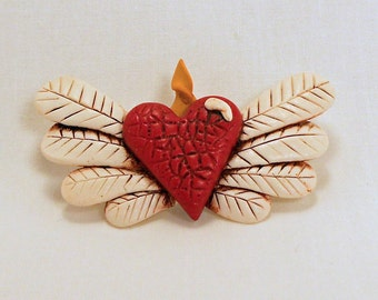 Winged Sacred Heart with Flame Pin
