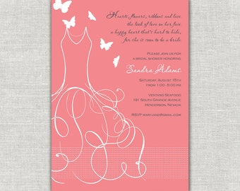 Coral Bridal Shower Invitations Bridal Dress, Whimsy Bridal Shower, Whimsical Bridal Shower, Wedding Gown, Wedding Dress, Cinderella