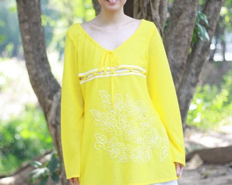 SALE 15% OFF --B021--Joyful (Cotton Blouse with flowers embroidery)