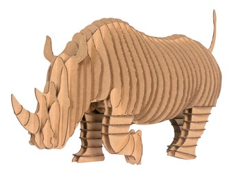Rambling Robbie Jr - Medium Cardboard Rhino Full Body - Brown