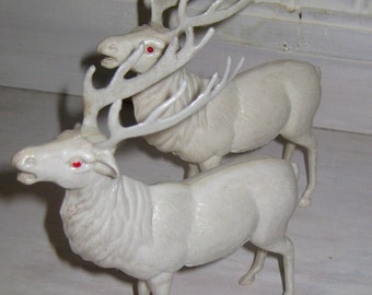 Handsome Pair of Hard Plastic Reindeer Christmas Decor
