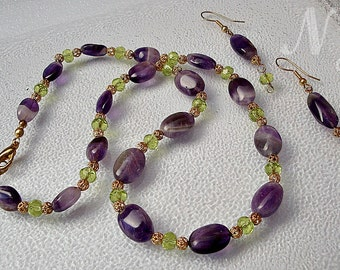 Amethyst Green Crystal necklace. Amethyst necklace.