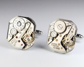 Steampunk Jewelry Vintage Cufflinks - Swiss Watch Movements Cuff Links - Unique Accessories by Steampunk Vintage Design