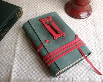 leather journal in green  and red with vintage skeleton key and vintage style pages - Secret