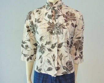 60s Scribbled Roses bow tie blouse size medium