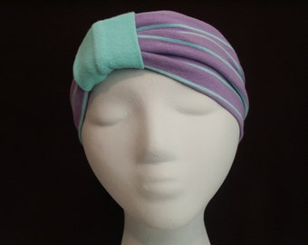 MINT GREEN STRIPES on Lavender Turban Headband / Hair Bands Wide Head Wrap / Boho Hair Covering / Jersey Stretch Ruched with Fabric Wrap