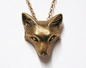 "Fox Necklace Pendant Fox Charm Woodland Fox on 20"" inch Metal Chain (bronze)"