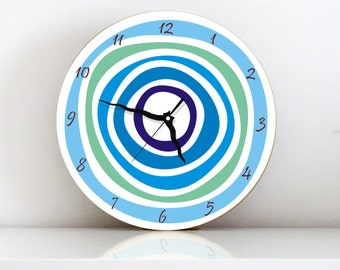 Blue Circles geometric Modern large unique living room easter hostess handmade graphic design wall clock