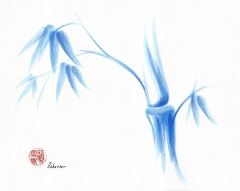 Blue Morning - Original Sumie Ink Painting Blue Bamboo