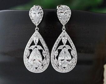 Bridal Jewelry Wedding Bridal Earrings Bridesmaid Earrings Bridesmaid Gifts Dangle Earrings Cubic Zirconia Tear drop Earrings (E-B-0134)
