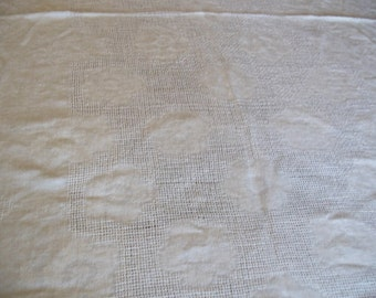 Vintage Linen Drawnwork Tablecloth - Natural Off-White Rectangle - A Classic Look
