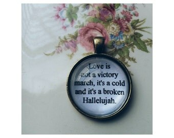 Hallelujah lyric quote necklace- Leonard Cohen lyric quote necklace- Jeff Buckley