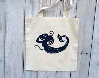 Eco-Friendly Mermaid in Navy -  Reusable Canvas Tote Bag