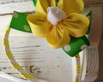 Ribbon Flower Headband with Removable Bow