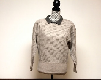 Vintage 1980s Liz Claiborne Collection Gray Women's wool sweater size small