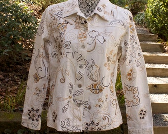 Vintage Embroidered Jacket - Laura Ashley white floral beaded cotton jacket size medium