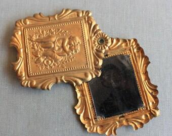 Massive Antique French Cherub Slide Locket with Original Tintype