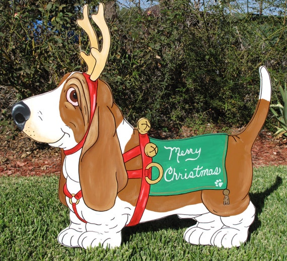 Basset Hound Christmas Yard Art Red Santa's