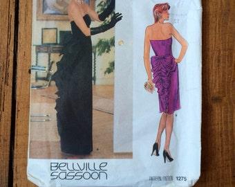 Vintage Vogue Pattern - Bellville Sassoon 1275 - Evening Gown, Bustle Dress Pattern 1980s including original label