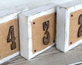 Rustic Table Number, Wood Table Sign, RESERVED Rustic Wedding Decor, Rusty Number Sign, Burlap Wedding Sign, Country Wedding White,