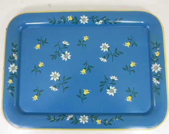 Vintage Blue Metal Tray With Tulips and Flowers - 2 Available