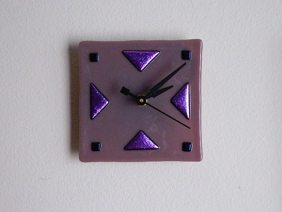 art deco style fused glass wall or desk clock stunning mauve
