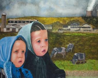 Amish Original Watercolor Painting Watercolor painting Realistic painting Watercolor painting farm Original painting Realistic painting