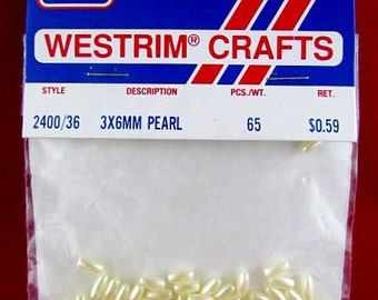 Westrim 3x6mm Faux Rice Pearl Beads