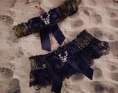 Deer Camo Camouflage Black Ribbon Black lace Deer charm Wedding Bridal Garter Toss Set