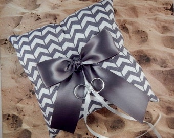 Gray White Chevron Charcoal Gray Ribbon Wedding Ring Bearer Pillow