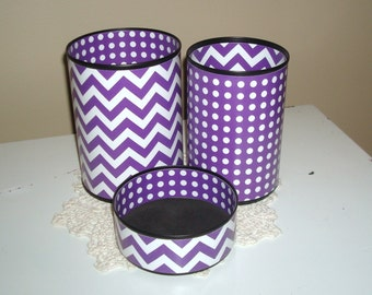 Desk Accessory Set YOUR CHOICE of Color, Pencil Holder, Purple and White Chevron and Dots Desk Accessories - 661