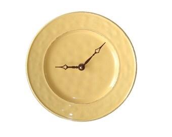 Yellow Wall Clock - Kitchen Wall Clock - Plate Clock - Unique Wall Clock - Unique Wall Decor - Yellow Clock - 1537