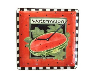 Watermelon Wall Clock - Large Wall Clock - Kitchen Wall Clock - Ceramic Plate Clock - International Seed Packet Watermelon Clock - 1552
